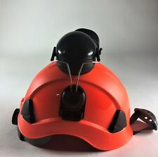 Red Tree Climbers Safety Helmet 6 Pt Ratchet Suspension Meet Ansi With Earmuffs