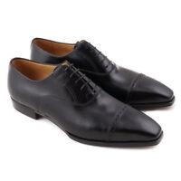 NIB $1275 BRIONI Black Balmoral with Brogued Toe Cap Detail US 9.5 Dress Shoes