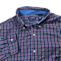 Chaps By Ralph Lauren Mens Long Sleeve Button Down Dress Shirt Purple Plaid XLT