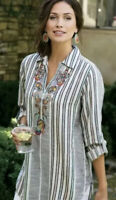 Large Soft Surroundings Aruba Gray Floral Embroidered Tunic Top  Pullover