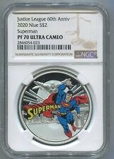 2020 NIUE $2 - SUPERMAN JUSTICE LEAGUE 60TH ANNIV - NGC PF70 UC - SILVER COIN