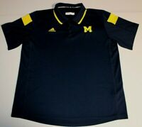 NCAA Michigan Wolverines Short Sleeve Polo Shirt XL Adidas Climalite Blue Yellow