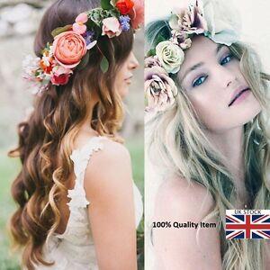 Women Girls Boho Flower Floral Hairband Crown Party Bride Wedding Beach MIZ 1
