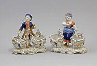 8340215 Paar Porzellan Figur Rokoko-Gewürzmenagen Volkstedt