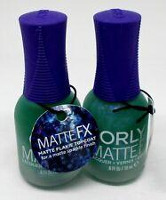 2 ORLY Matte FX Nail Lacquer Nail Polish Color GREEN FLAME TOPCOAT 20814
