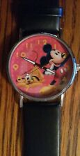 """Mickey Mouse/Pluto Disney Watch New 1 1/2"""" Face. 9 1/2"""" Strap"""