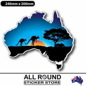 240mm Australia-BLUE Map-sticker-with-kangaroo-sunset- for motorhome , campervan