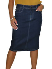 Stretch Denim Jeans Pencil Skirt Indigo Dark Blue 12-24 Sequin Pocket 16