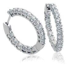En Oro Blanco De Real Diamante Argollas Con Bisagras pendientes 1,50 Ct G Si1