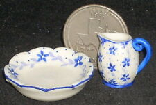 Dollhouse Miniature Pitcher & Wash Basin 1:12 Bath Mexican Puebla Blue #1077