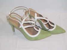 NEW EVA MENDES GREEN & IVORY T-STRAP ANKLE FAUX SUEDE SLINGBACK PUMPS SIZE 9 M