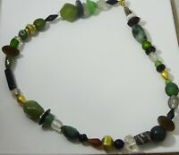 Black coin Pearls Aquamarine and gold wax beads necklace