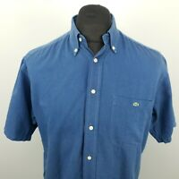 Lacoste Mens Vintage Shirt 39 MEDIUM Short Sleeve Blue Regular Fit Cotton