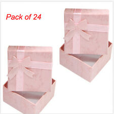 Wholesale 24Pcs Ring Earring Jewelry Display Gift Box Bowknot Square Case Pink