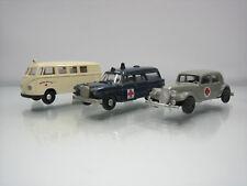 Lot of 3 Brekina Plastic HO Ambulance Cars 1/87 Mercedes/Volkswagen/Citroen
