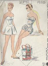 Nähmuster 1955 Vintage B34 Badeanzug Rock Badehose Pluderhose (r890)