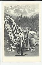 antica cartolina formato piccolo di alpinismo  zaino corda e picozza montagna