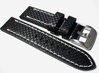Black carbon fibre leather watch strap with white stitch, 20, 22 and 24mm wide