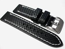 Noir Carbone Fibre Bracelet Montre Cuir avec Blanc Couture, 20, 22 Et 24mm Large