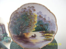 J. Aoki (Jinichiro Aok) iSigned Japan Porcelain Plate Rare Stunning Stag Scene