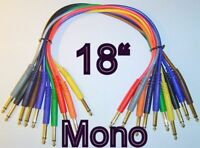 "10 Mono 1/4"" Gold 18"" Patch Cables TS Unbalanced Cords 1.5 Foot   *TOP QUALITY*"