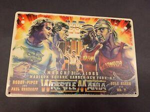 Wrestle Mania 1 Hulk Hogan Mr T Roddy Pipper Tin Poster Legends Hasbro Elite Ljn