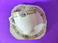 Tuscan Hand Finished Pink Bone China Trio, Antique 1920s Tea Cup, Saucer & Plate