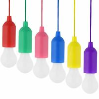 Portable LED Bulb Light On Rope Reading Lamp White Battery Operated Pull Cord CO