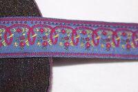 "$1 yard Purple Dark Hot Pink Yellow woven jacquard sewing ribbon trim 1"" wide"