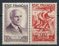 YT n°576 et 577 de 1943 PETAIN et le TRAVAIL neuf** 1 pli sur 576