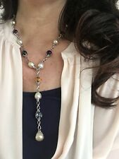 Silver Paspaley South Sea Pearl Citrine Amethyst Topaz Station Necklace Lariat