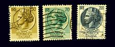 1957-60  Italian stamp / Italia  with Syracusean Coin  / Set of 3/ Used