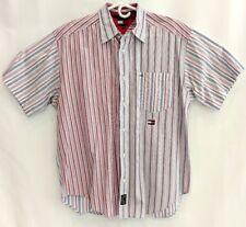 Tommy Hilfiger Shirt Vertical Striped Button Down Short Sleeve Medium