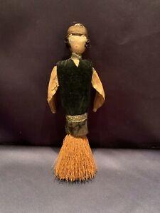 Unique Folk Art C1920 Handmade Flapper Girl Whisk Broom Doll Personality ++