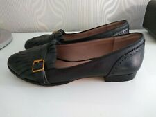 Dune Leather Loafer Tassle  Flat  Shoes Black Size 6 Ladies Womens