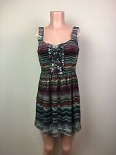 Bebop Women's Small S Multi Color Sleeveless Mid-Thigh V-Neck Dress Polyester