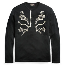 Double Ralph Lauren RRL Mens Embroidered Western Celebrity Henley Shirt Sweater