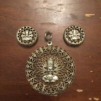 Vintage Large Silver Tone Tribal Face Necklace Pendant and Clip On Earrings Set