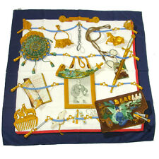 Authentic HERMES Vintage Jumbo Big Scarf Handkerchief 100% Silk Blue TG00266