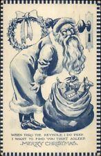 Christmas - Blue Tone Santa Claus - Bernhardt Wall? c1915 Postcard