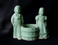 Antique Green Pottery Boy & Girl Figurine Cactus Planter/Toothpick/Match Holder