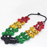 Bohemian Coconut Shell Necklace Rasta Colours Beaded Neck Statement Piece 23.6""