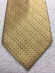 JONES NEW YORK MENS TIE YELLOW WITH BLUE AND WHITE 4 X 61