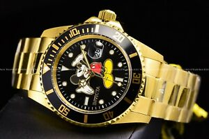 Invicta 42mm Disney Limited Ed. Pro Diver Gold Black Mickey Mouse SS Watch