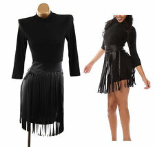 Plus Black Faux Leather Shredded Fringe Skirt Bodycon Mini Dress 2X 2XL