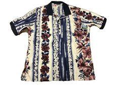 Men's Hilo Hattie Hawaiian Original Polo Shirt Blue White Size M Made in Hawaii