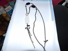 EXTRA LONGMONOCHROME NECKLACE WITH FACETED DROPS & TASSELS BLACK CHAIN 434-46