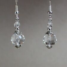 Vintage clear crystal silver drop dangle earrings wedding bridesmaid bridal gift