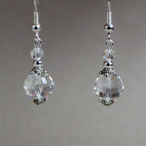 Vintage clear crystal silver drop dangle earrings wedding bridesmaid bridal gift