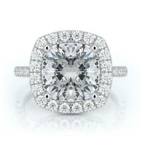 4 CARAT D VS2 CUSHION ENGAGEMENT DIAMOND RING 14K WHITE GOLD SOLID CERTIFIED